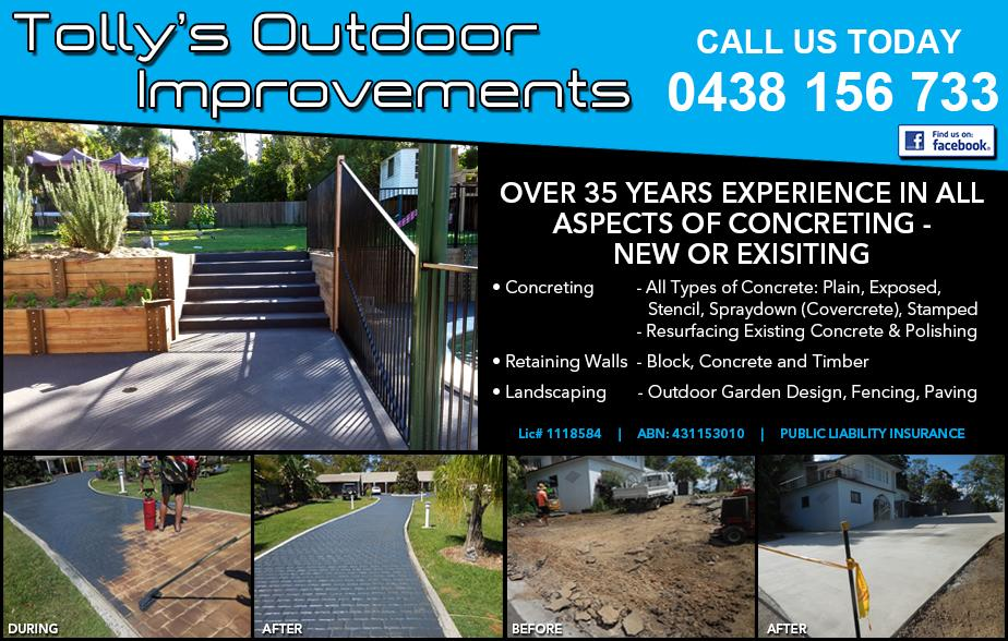 Tollys Outdoor Improvement - 0438 156 733  Concreter, decorative concreter, concrete stamping, concrete polishing, concrete grinding