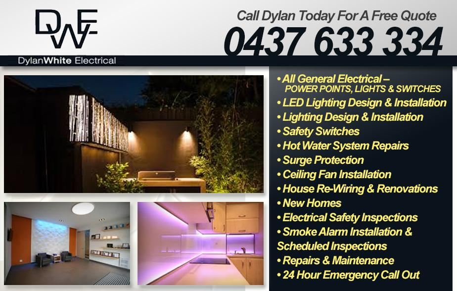 Dylan White Electrical- 0437 633 334  Electrician- Proserpine, Cannonvale, Airlee Beach