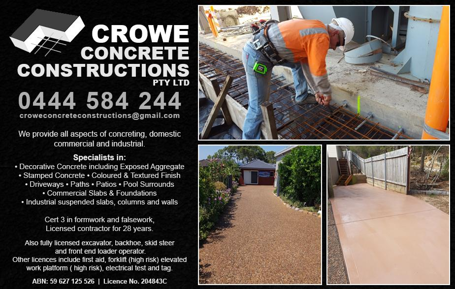 Crowe Concrete Constructions- 0423 326 742  Concreter- Belmont, Warners Bay, Boolaroo, Swansea, Lake Macquarie, Valentine, Toronto, Morisset  Concreting- Belmont, Warners Bay, Boolaroo, Swansea, Lake Macquarie, Valentine, Toronto, Morisset