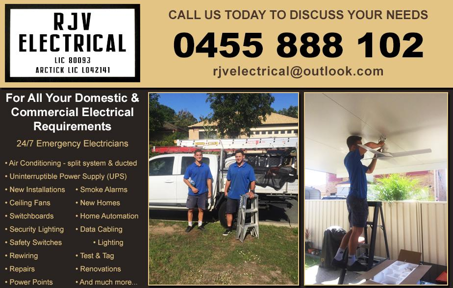 RJV Electrical and Air Conditioning- 0455 888 102  Electrician- Pelican Waters, Golden Beach, Caloundra, Shelly Beach, Little Mountain, Currimundi, Glass House Mountains, Landsborough, Beerwah, Wurtulla, Kawana Waters, Warana, Buddina, Minyama, Eudio