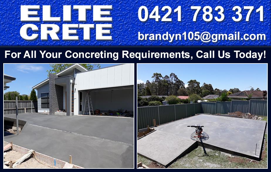Elite Crete- 0421 783 371  Concreter- Albion Park, Oak Flats, Shellharbour, Barrack Heights, Warilla, Mt Warrigal, Kiama, Bombo, Minnamurra, Kiama Downs, Gerringong, Gerroa, Lake Illawarra