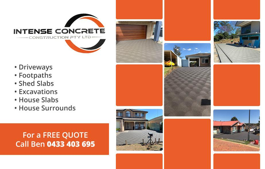 Intense Concrete Constructions- 0423 000 238  Concreter- Windsor, Clarendon, Pitt Town, Riverstone, Richmond, Llandilo, North Richmond, Castlereagh, South Windsor  Concreters- Windsor, Clarendon, Pitt Town, Riverstone, Richmond, Llandilo, North Richmond, Castlereagh, South Windsor  Concreters In- Windsor, Clarendon, Pitt Town, Riverstone, Richmond, Llandilo, North Richmond, Castlereagh, South Windsor